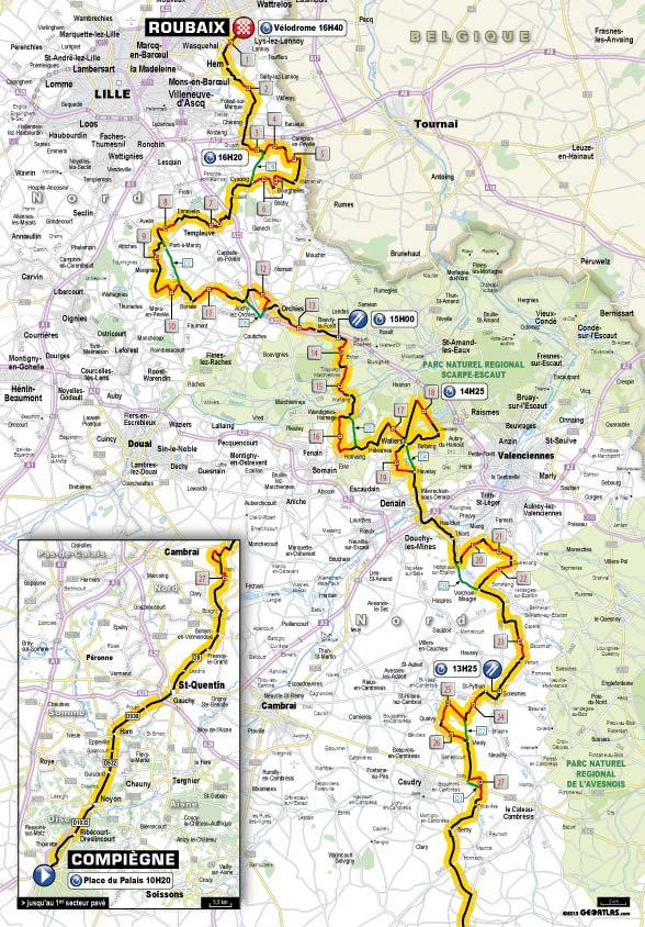 Parcours Parijs Roubaix 2014