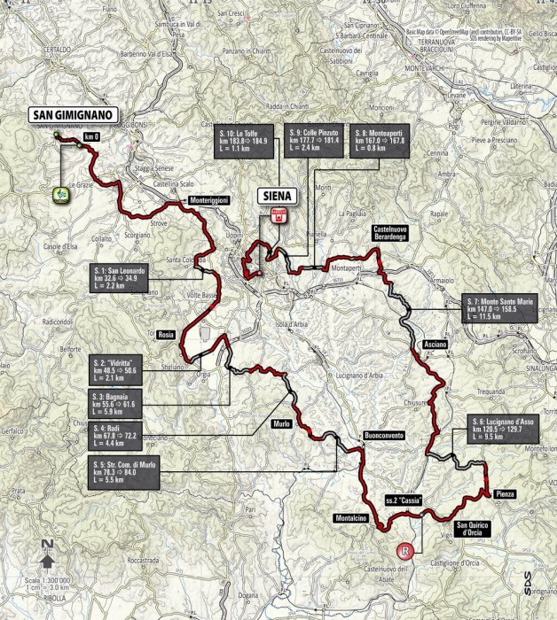 parcours Strade Bianche 2014